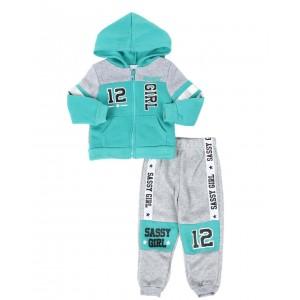 2 pc sassy girl color block zip front hoodie & jogger pants set (2t-4t)