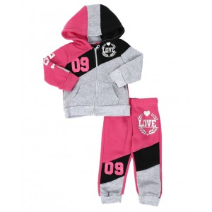 2 pc love 09 zip front hoodie & jogger pants set (infant)