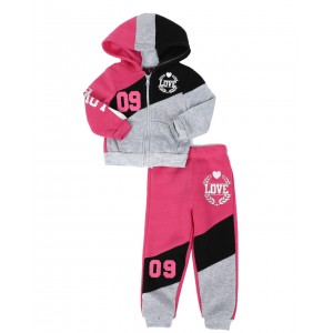 2 pc love 09 zip front hoodie & jogger pants set (2t-4t)