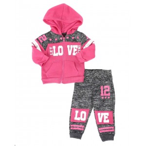 2 pc marled love color block zip front hoodie & jogger pants set (infant)