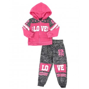 2 pc marled love color block zip front hoodie & jogger pants set (2t-4t)