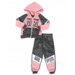 2 pc marled fierce strong girl color block zip front hoodie & jogger pants set (2t-4t)