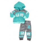 2 pc marled love color block zip front hoodie & jogger pants set (infant)