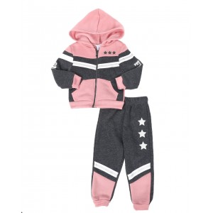 2 pc strong & fierce color block zip front hoodie & jogger pants set (2t-4t)
