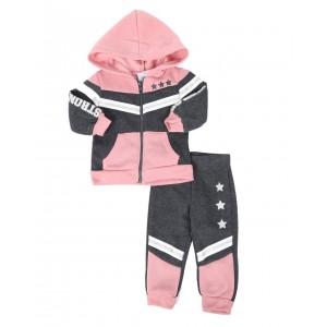 2 pc strong & fierce color block zip front hoodie & jogger pants set (infant)