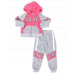 2 pc love color block zip front hoodie & jogger pants set (2t-4t)