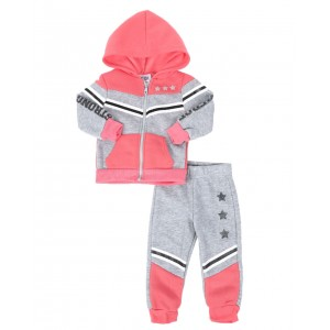 2 pc strong & fierce color block zip front hoodie & jogger pants set (infant)