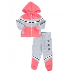 2 pc strong & fierce color block zip front hoodie & jogger pants set (2t-4t)