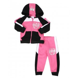 2 pc queen color block zip front hoodie & jogger pants set (infant)