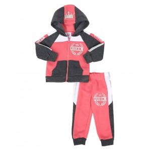 2 pc queen color block zip front hoodie & jogger pants set (infant)