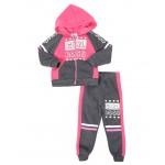 2 pc girl boss color block zip front hoodie & jogger pants set (2t-4t)