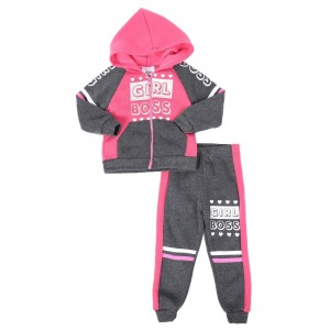 2 pc girl boss color block zip front hoodie & jogger pants set (2t-4t)