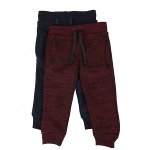 2 pack marled & solid fleece jogger pants (2t-4t)
