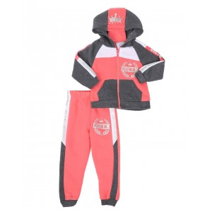 2 pc queen color block zip front hoodie & jogger pants set (2t-4t)