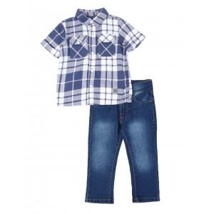 2 pc plaid button down shirt & jeans set (2t-4t)