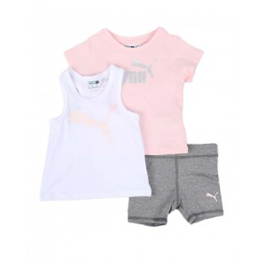 3 pc logo tee, racerback tank top & bike shorts set (infant)