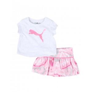 2 pc logo tee & mesh skort set (infant)