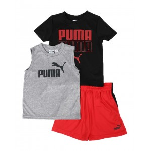 3 pc logo tee, muscle tee & shorts set (2t-4t)