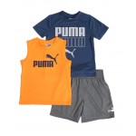 3 pc logo tee, muscle tee & shorts set (2t-4t)