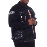 skull distressed denim jacket (b&t)