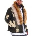 fur collar denim jacket (b&t)