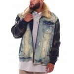 makobi denim jacket w/plaid contrast (b&t)