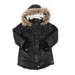 hooded elasticized waist sherpa lined parka jacket w/ faux fur trim (4-6x)