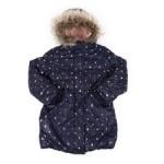 heart print hooded sherpa lined puffer jacket w/ faux fur trim (4-6x)