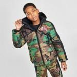 Boys Jordan Jumpman Classics Mashup Logo Camo Puffer Jacket
