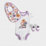 Girls Infant Nike Floral Cortez 3-Piece Bib and Booties Box Set