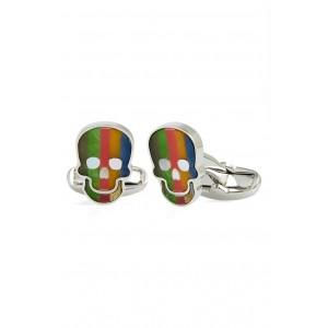 Stripe Skull Cuff Links