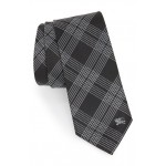 Manston Graphic Line Check Silk Tie