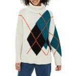 Oversized Argyle Turtleneck Sweater