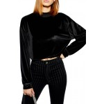 Velour Cropped Sweater