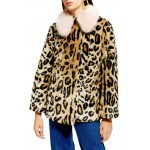 Leopard Spot Faux Fur Coat
