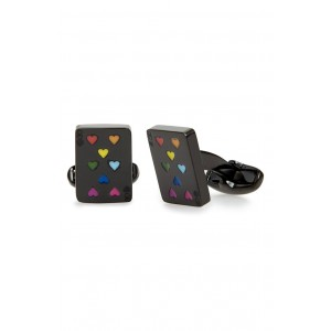 Multicolor Hearts Playing Card Cuff Links