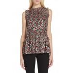 floral park clip dot ruffle blouse