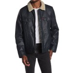 Faux Leather & Faux Shearling Collared Trucker Jacket