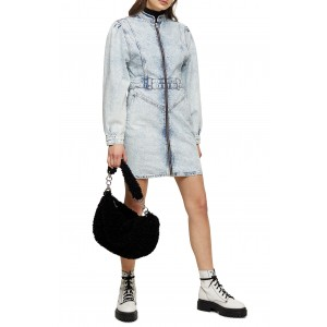Acid Wash Long Sleeve Denim Shirtdress