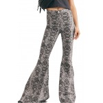 Just Float On Flare Leg Geo Snake Print Jeans