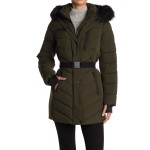 Belted Fur Trim Hood Puffer Jacket