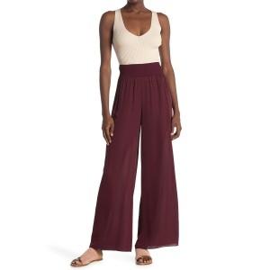 Rib Waist Wide Leg Silk Pants