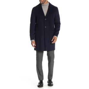 Navy Solid Button Coat