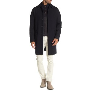 Basketweave Spread Collar Coat