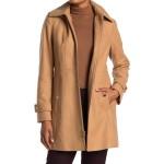 Zip Front Wool Blend Hooded Coat