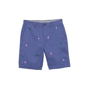 Tropical Flamgino Embroidery Stretch Chino Shorts