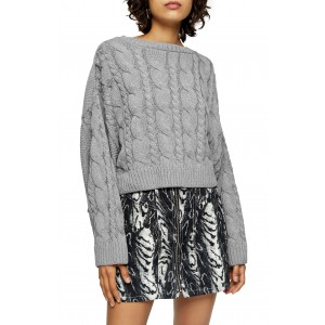 Crop Batwing Sleeve Cable Sweater