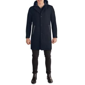 Hooded Mixed Media Coat