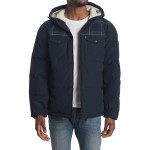 Faux Shearling Lined Trucker Puffer Jacket