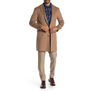 Camel Solid Button Coat